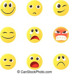 Round smileys icons set, cartoon style