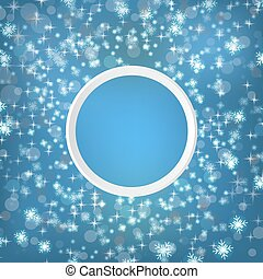 Round snow frame with empty space for your text. Winter frame made of spots or dots of various size. Circle shape. New Year, Christmas abstract background