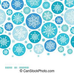 Round Snowflakes Horizontal Border Seamless Pattern Background