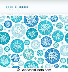 Round Snowflakes Horizontal Torn Seamless Pattern Background...