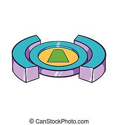 Round soccer stadium icon, cartoon style