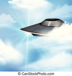 Round spaceship flying in blue sky