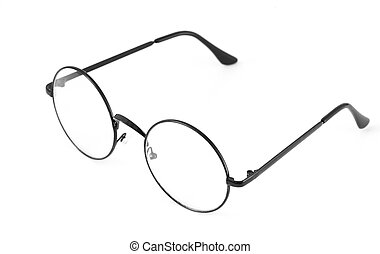 round spectacles on white - retro round spectacles isolated...