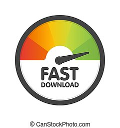 Round Speedometer fast download speed. Vector illustration template