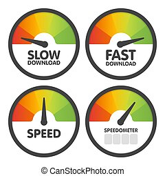 Round Speedometers set with slow and fast speed download. Vector illustration