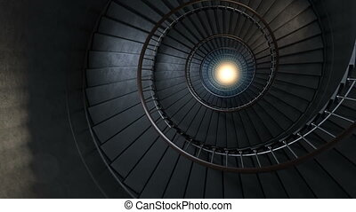 Round spiral staircase. - The camera moves down to light....