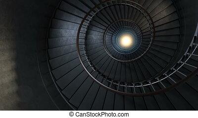 Round spiral staircase.