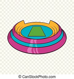 Round sports stadium icon, cartoon style
