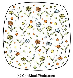 Round square element with flowers.