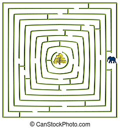 round square maze with elephant and tree, abstract vector...