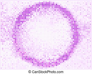 Round Square Pixel Mosaic Vector Banner. Abstract light Round shape frame