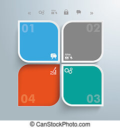 Round Squares 4 Options Hole - Template rectangles design on...