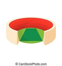 Round stadium icon, cartoon style