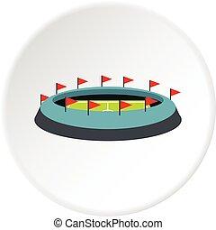 Round stadium with flags icon circle