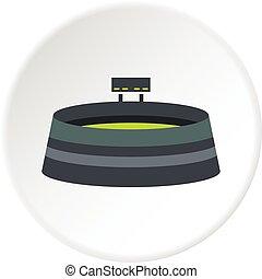 Round stadium with scoreboard icon circle