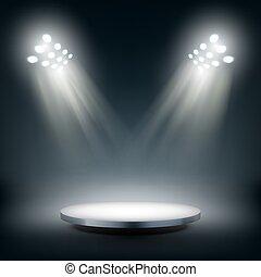 Round Stage Illuminated By Spotlights
