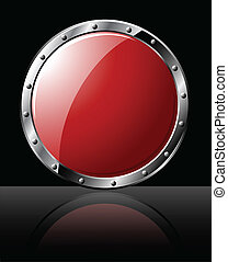 Round Steel Shield - Round steel shiny shield - isolated on...