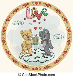Round Sticker Illustration for Valentines Day design Decoration in the style of Childrens Doodle Toy teddy bears Give gifts Standing on a cloud