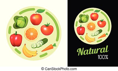 Round sticker with Fruit and Vegetables. Design element of Signboard banner with natural vegan food for shop