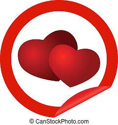 Round sticker with hearts