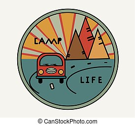 Round sticker with vintage van in retro style. Inscription Camp Life. The road, the sun in the mountains. Symbol of free travel. Camper tourism. Adventure label. Vector illustration