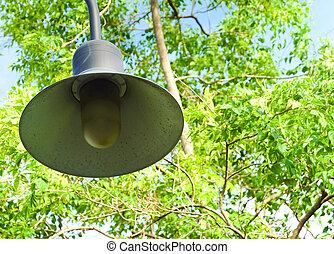 Round Street Lamp or Light Pole in Garden