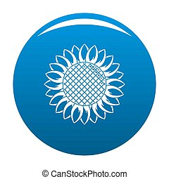 Round sunflower icon blue