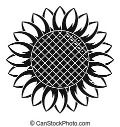 Round sunflower icon, simple style