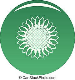 Round sunflower icon vector green