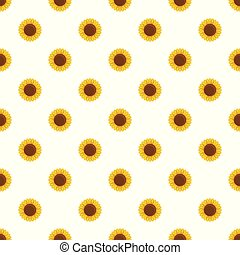 Round sunflower pattern seamless vector