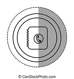 round symbol notebook with phone sign icon