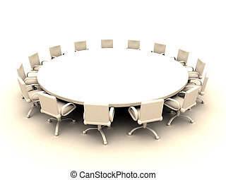 Round Table 2 - 3D rendered illustration.