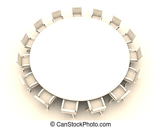 Round Table 3 - 3D rendered illustration.