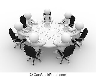 Round table - 3d people - human character, person at a round...