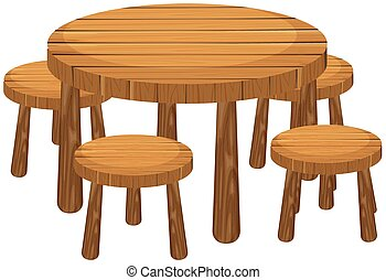 Round table and chairs illustration