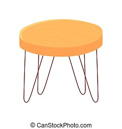 round table furniture cartoon hygge style vector illustration