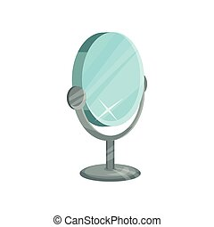 Round table mirror on metal stand for makeup. Equipment for dressing room. Flat vector design