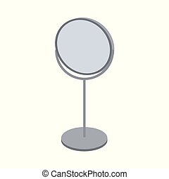 Round table mirror for makeup on white background. Isolated vector illustration.