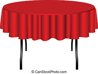 Round table on legs covered with a red cloth. Vector illustration.