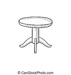 round table clipart black and white. round table sketch icon. clipart black and white