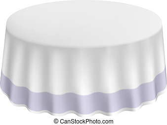 Round table with a white cloth isolated. Vector illustration.