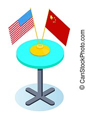 Round table with american and chinese flags. Symbol of trade cooperation, business relationship