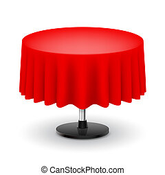 Round table with red cloth.