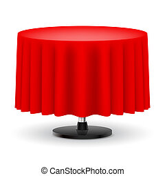 Round table with red cloth. - Classic round table with long...