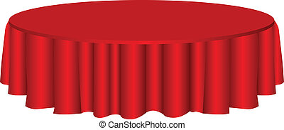 Round table with red tablecloth. Vector illustration.