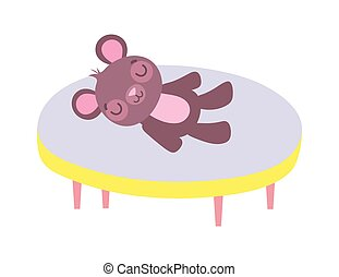 round table with teddy bear toy