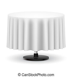 Classic round table with long white cloth isolated on white background.
