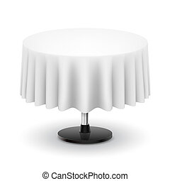 Round table with white cloth.
