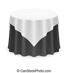 Round Tablecloth - Isolated Blank Round Table with...