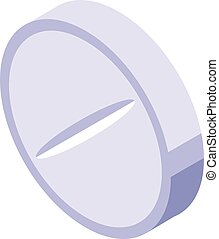 Round tablet icon, isometric style